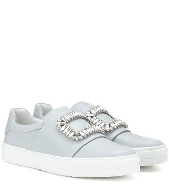 embellished sneakers leather grey shoes