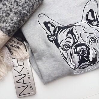 sweater jumper grey dog french bulldog