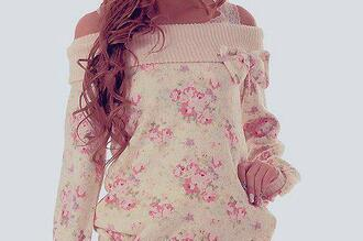 sweater women pink flowers white kawaii cute sweet pink floral flowers sweatshirt nod romantic shirt jumper bow weheartit pretty off the shoulder girl blouse casual spring summer fall outfits roses lazy day girly comfy bows one shoulder pastel pink top pullover floral dress fleurie haut floral sweater pastel flower sweatshirt