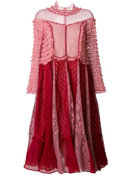 Valentino dress ruffle women cotton red
