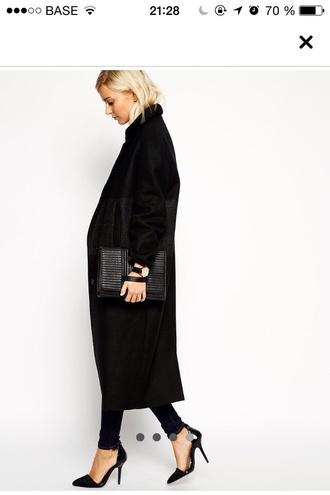 coat blackcoat minimalist black coat black