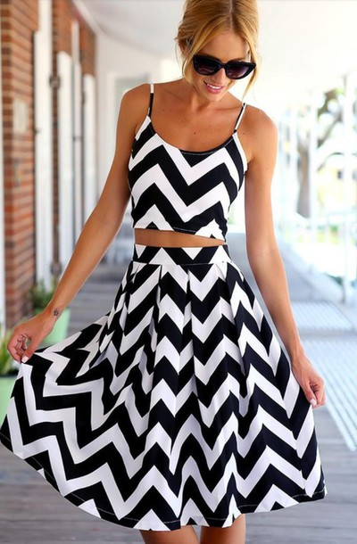 skirt crop tops black and white two-piece