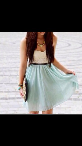dress white strapless dress cute dress white dress lace dress teal dress jewelry jewels crop tops