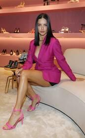 shoes,adriana lima,model,pink,blazer,sandals,sandal heels,celebrity