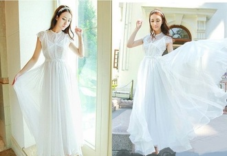 dress white maxi lace chiffon prom dress long dress long prom dress long graduation dress white dress