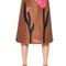 Printed raffia & cotton crepe skirt