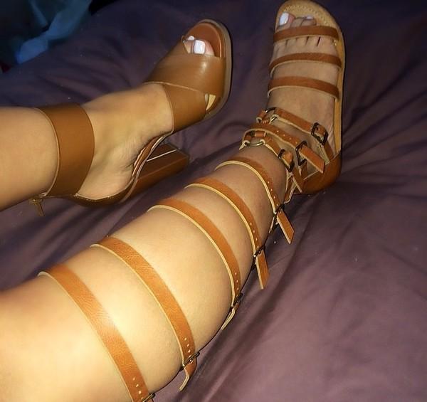 shoes brown shoes sandals long sandels aztec beige tribal pattern