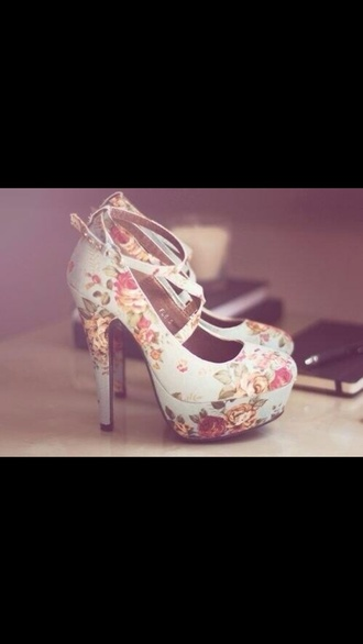 floral shoes high heels coral