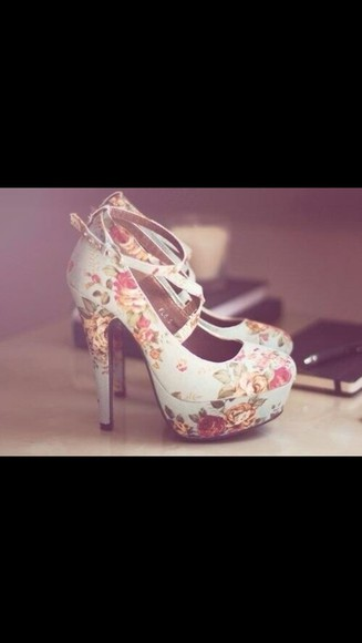 coral shoes high heels floral blue