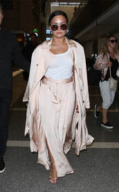 skirt,wrap skirt,top,coat,duster coat,demi lovato,sunglasses,spring outfits,silk