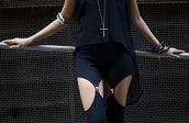 pants,all black everything,black leggings,garter,garter leggings,black shirt,crosses,bracelets,shirt,bottom,leggings,cut offs,suspenders,leather garter,black,grunge,soft grunge,sexy,hot