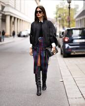 jacket,black jacket,oversized jacket,knee high boots,black boots,midi skirt,front slit skirt,plaid skirt,shoulder bag,sunglasses,earrings,blouse