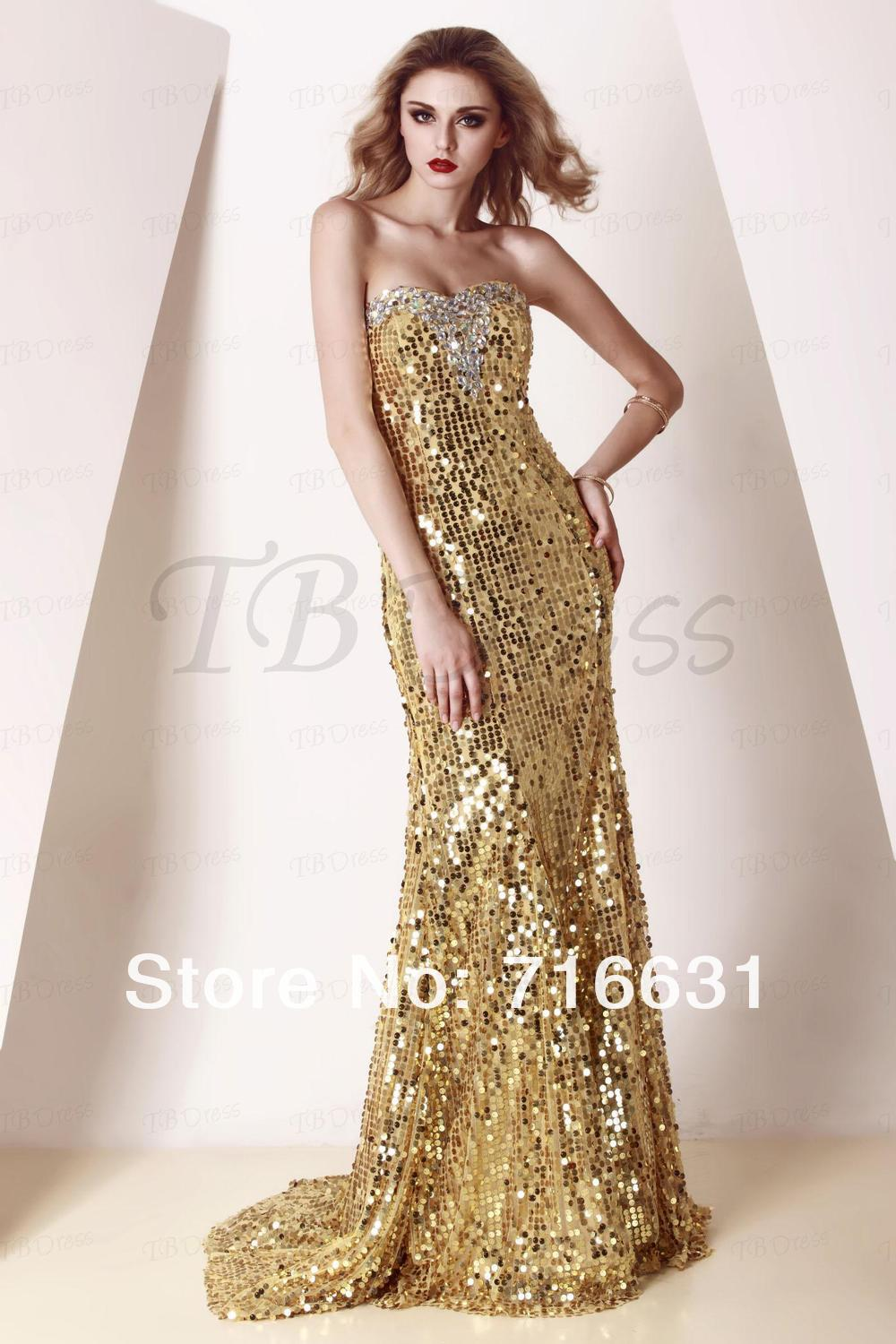 Hot Selling Free Shipping Gold Sequins Long Evening Prom Dress-in ...