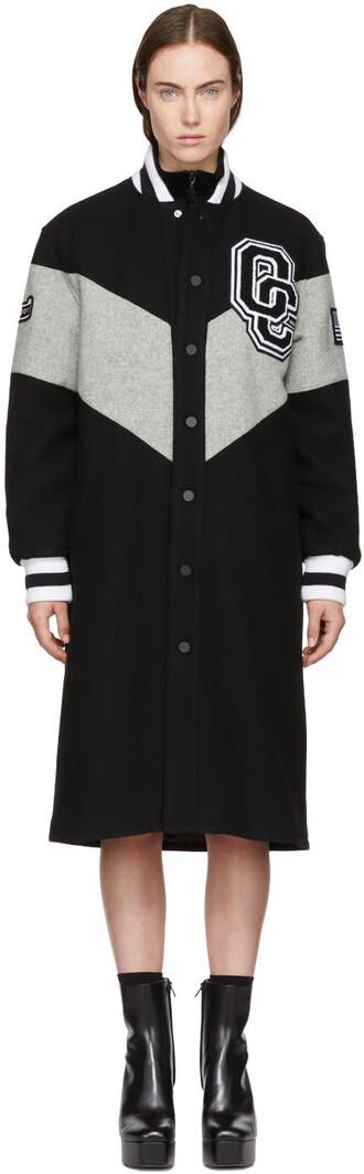 jacket bomber jacket long varsity black grey