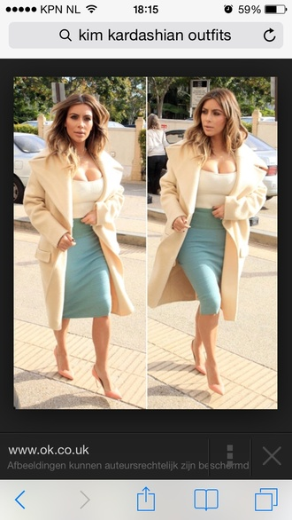 kim kardashian cream nude beige big coat