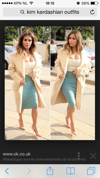 kim kardashian nude cream beige big coat