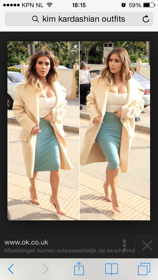 kim kardashian cream nude beige big coat