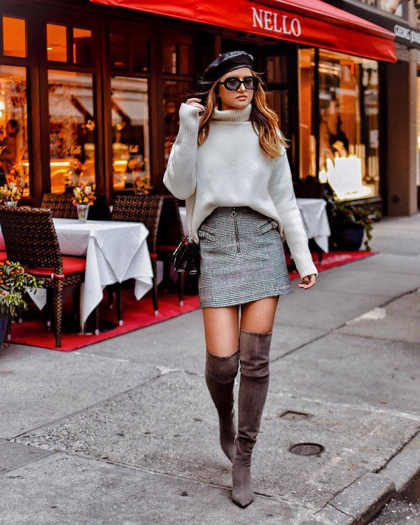 skirt tumblr mini skirt plaid plaid skirt grey skirt sweater knit knitwear knitted sweater turtleneck turtleneck sweater beret sunglasses boots over the knee boots over the knee