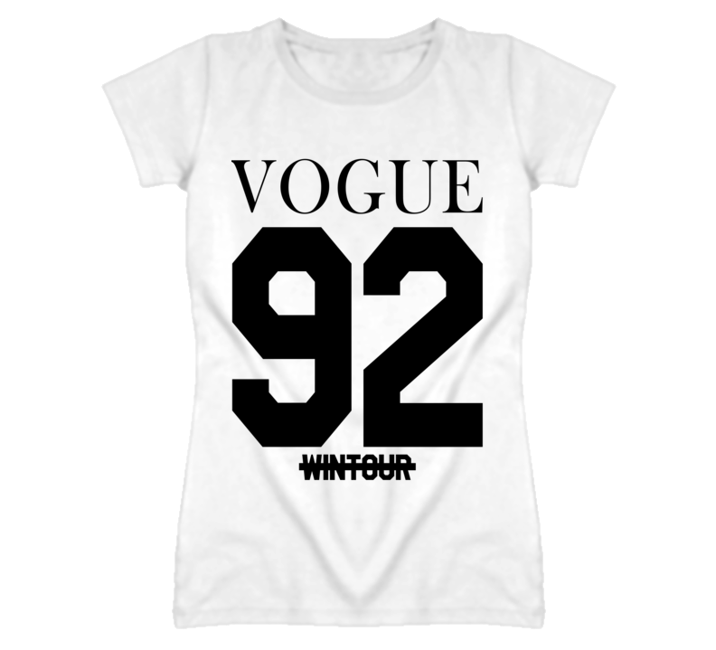 Vogue 92 Jersey Style Graphic T Shirt Printed On Back Of