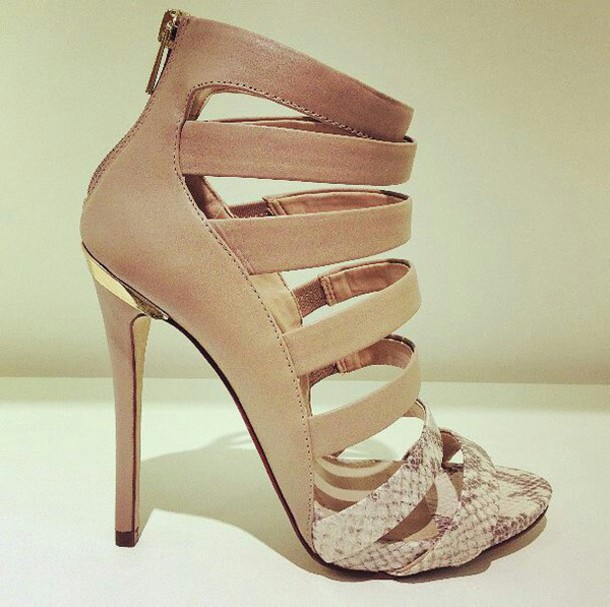 shoes nude sandals strappy heels cute brown snake skin gold platform shoes brown high heels style fashion