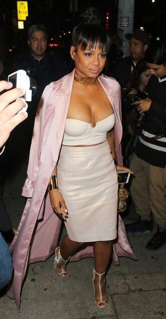 coat nude skirt pencil skirt christina milian sandals bustier top crop tops