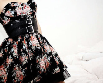 floral dress belt dress prom dress black dress flowers black flowers black leather belt leather beautiful vintage cute dress floral colorful zipup windbreaker waist belt buckles