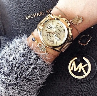 sweater marled grey black white somber gold watch michael kors accessory jewelry bracelets stacked bracelets hamsa hamsa bracelet