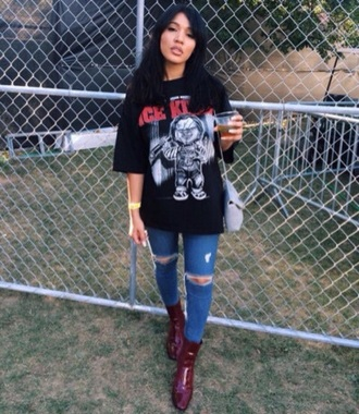 top black t-shirt band kylie jenner rock music red ripped crop tops