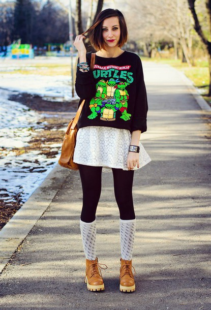 beauty insanity blogger sweater printed sweater ninja turtles socks
