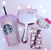 home accessory,hello kitty,pink,purple,girly,love,girl,girly wishlist,jewels,mirror,make-up,light pink,white,diamonds