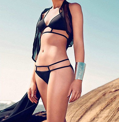 Black Sexy Bandage Strappy Bikini Set