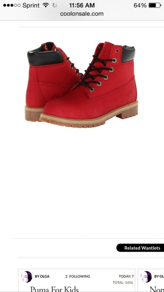 shoes boys red timberland boots size 4.5 redtimbs timberlands