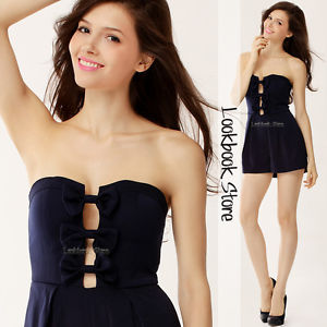 Women Navy Bow Bound Cut Out Front Strapless Zip Back Pleated Romper Jumpsuit | eBay