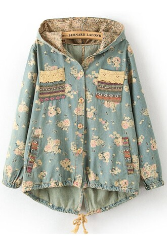 coat bat coat bat flowers cichic lace laces pockets hat girl girly trendy lovely cute beautiful pretty jacket denim blue hot trench coat