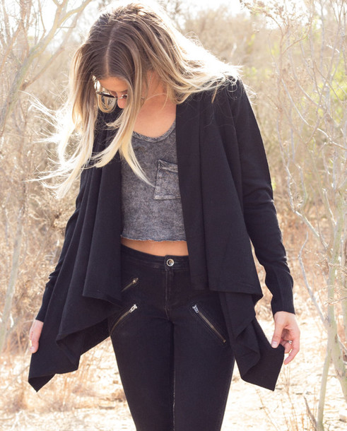 Sweater: slouchy, black, knit, knitwear, knitted cardigan, jeans ...