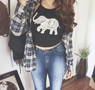 top elephant elephant print black top aztec crop top tank top cute bohemian tank vest halter neck halter vest high neck high vest animal crop crop tops shirt checkered fashion cute top girly tshirt summer top
