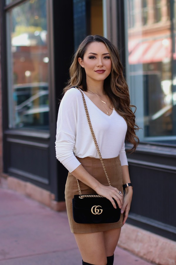 f1da304cb7 hapa time blogger top skirt bag shoes jewels white sweater beige skirt  gucci bag fall outfits.
