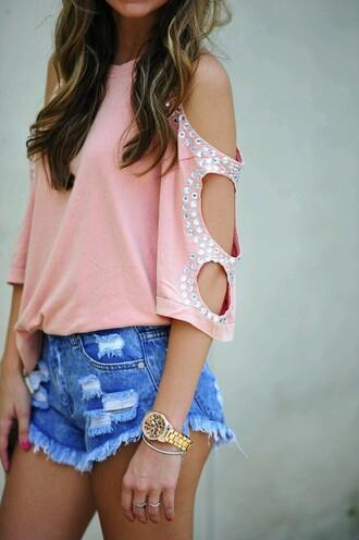 shirt cute top jewels fun outfit shorts casual