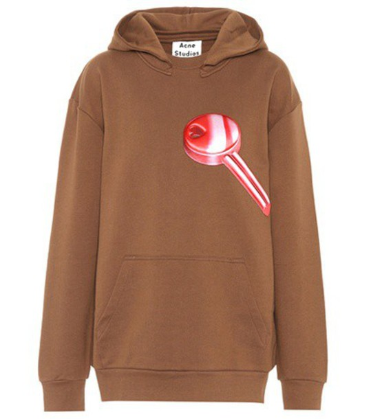 Acne Studios hoodie cotton brown sweater