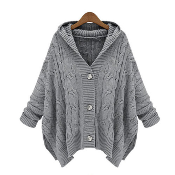 coat sweater knit loose hood