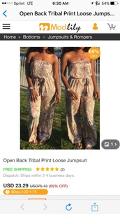 jumpsuit,beige with flowers