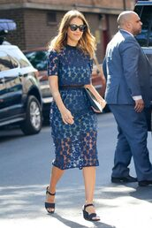 dress,midi dress,lace dress,sandals,jessica alba,sunglasses,see through dress,All blue outfit,All navy blue outfit