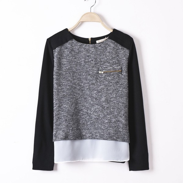 elegant knitted sweater sweatshirt patchwork grey sweater