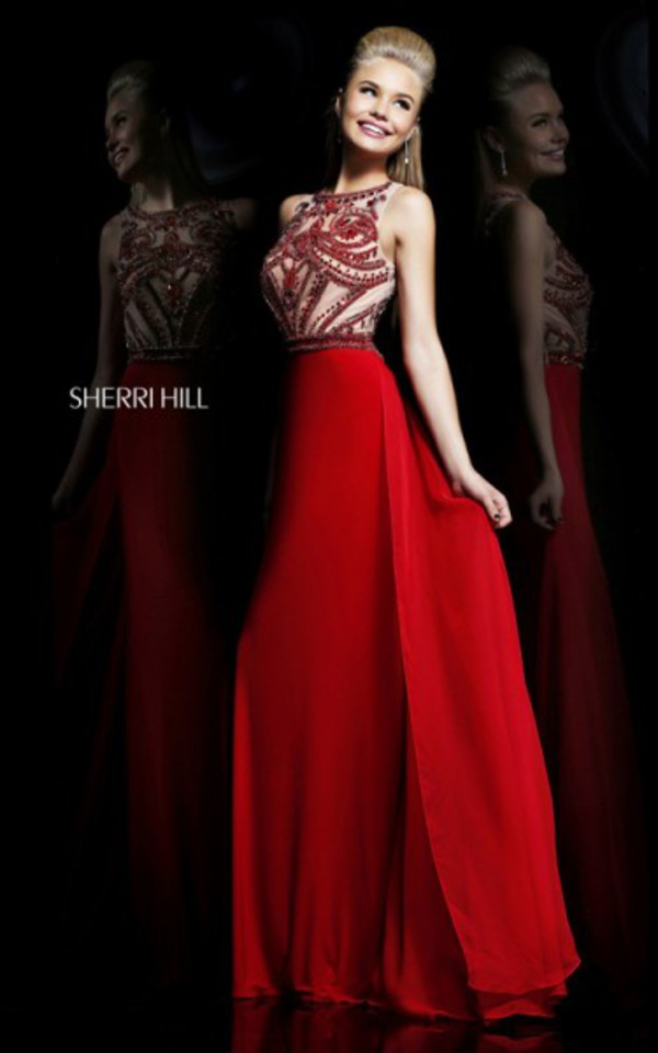 red homecoming dress sherri hill 11069 dress