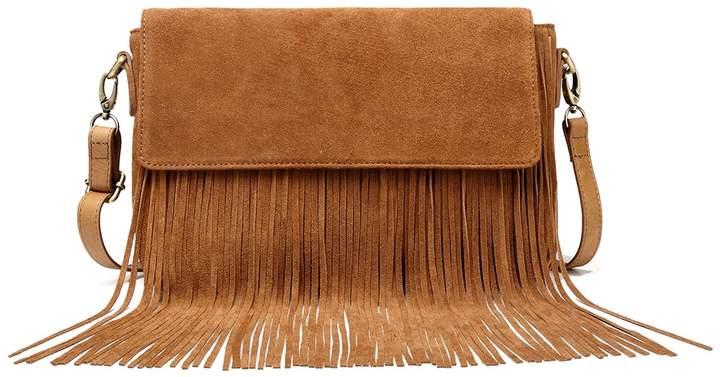 5499b24f4f21 Vicenzo Leather Allyson Suede Leather Fringe Crossbody Bag