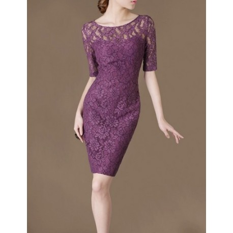 Purple Lace Elegant Noble Summer OL Slim Women Fashion Dress lml7029A - ott-123 - Global Online Shopping for Dresses