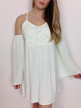 dress boho dress bohemian dress off the shoulder dress lace white dress