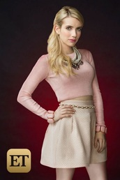 skirt,pink,cute,emma roberts,white skirt,pink top,shirt,cute top,cute outfits,scream queens,style,fashion,accessories,pearl,fancy,preppy,belt