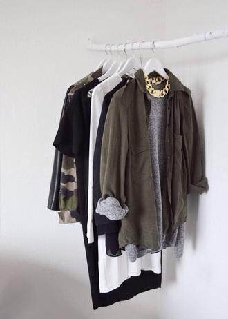 jacket army green jacket khaki jewels shirt