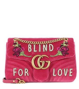 bag shoulder bag velvet pink